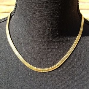 High end Flat chain golden necklace